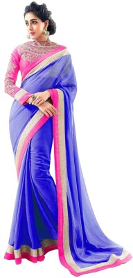 Dancing Girl Embroidered Bollywood Georgette Saree(Blue)  available at flipkart for Rs.490