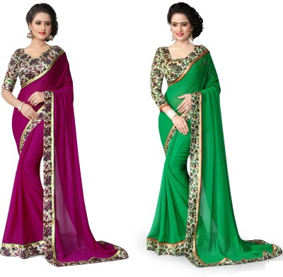 Indianbeauty Printed Fashion Chiffon Saree(Pack of 2, Green, Purple) Flipkart