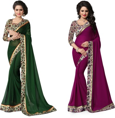 Indianbeauty Printed Fashion Chiffon Saree(Pack of 2, Purple, Dark Green) Flipkart