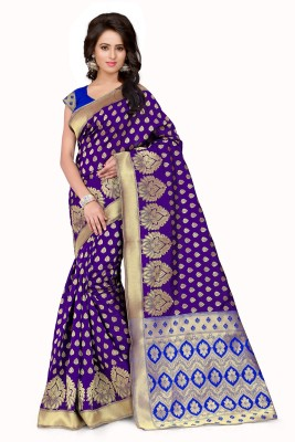 Style U Self Design Banarasi Handloom Jacquard Saree(Purple)