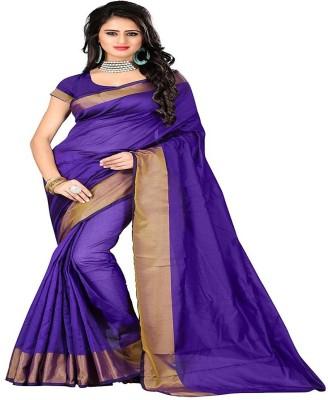 Cozee Shopping Woven Daily Wear Polycotton Saree(Purple) at flipkart