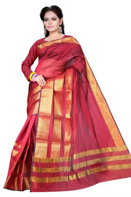 Asavari Embellished Banarasi Handloom Art Silk Saree(Maroon)  available at flipkart for Rs.699