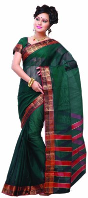 Ishin Solid, Striped Fashion Cotton Saree(Green)