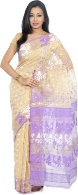 B3Fashion Geometric Print Jamdani Silk Saree(Beige, Purple)