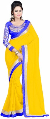Winza Designer Embroidered, Embellished, Checkered Daily Wear Faux Georgette, Pure Georgette Saree(Yellow, Blue, Multicolor) Flipkart