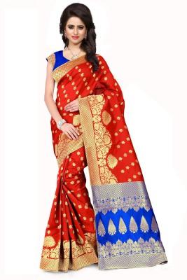 Style U Self Design, Woven Banarasi Handloom Jacquard, Poly Silk Saree(Purple)