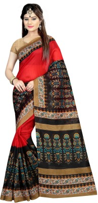 Zypara Printed Bhagalpuri Cotton Saree(Red)