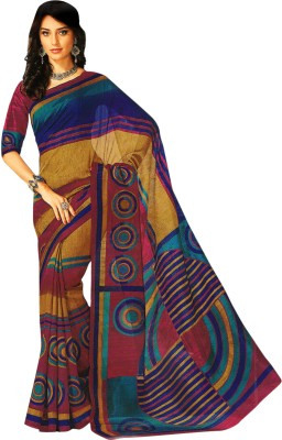 Bhavi Printed Fashion Art Silk Saree(Multicolor)