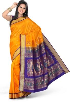 Ishin Printed Paithani Art Silk Saree(Orange)  available at flipkart for Rs.4950