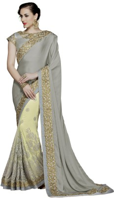 Mahotsav Embroidered Fashion Poly Silk Saree(Grey) at flipkart