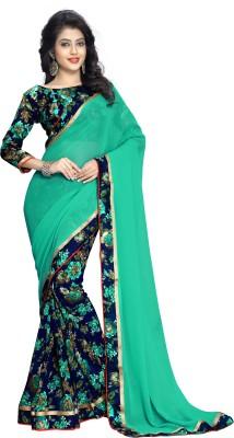 Oomph! Floral Print Fashion Chiffon Saree(Blue) Flipkart