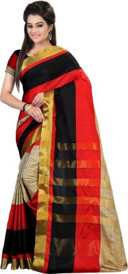 Glory Sarees Self Design Kanjivaram Handloom Cotton, Banarasi Silk Saree(Multicolor)