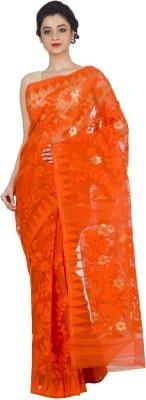 RLBFashion Self Design Jamdani Handloom Cotton, Silk Saree(Orange) Flipkart