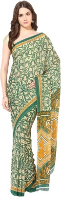 Fostelo Printed Daily Wear Chiffon Saree(Green)  available at flipkart for Rs.199