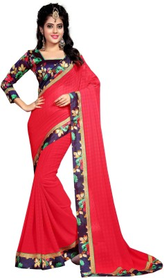 Indianbeauty Solid, Printed Fashion Poly Georgette Saree(Pink) at flipkart