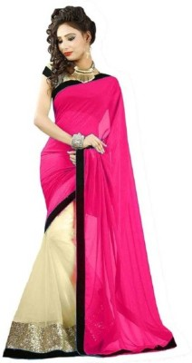 Bollywood Designer Solid Fashion Net Saree(Pink)  available at flipkart for Rs.497