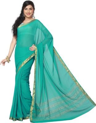 Rani Saahiba Solid Bollywood Chiffon Saree(Blue)