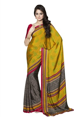 Suvastram Printed Fashion Crepe Saree(Multicolor)