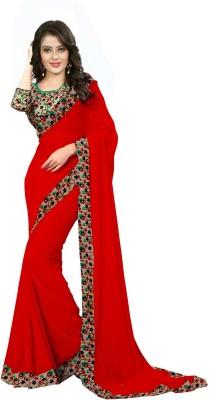 Laazreefashion Floral Print Bollywood Georgette, Art Silk Saree(Multicolor)