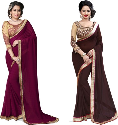 Indianbeauty Self Design, Solid, Printed Bollywood Chiffon Saree(Pack of 2, Brown, Purple)
