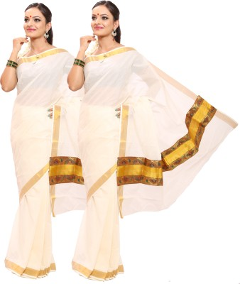 Swadesh Kasavu Self Design Fashion Cotton Saree(Pack of 2, Multicolor)