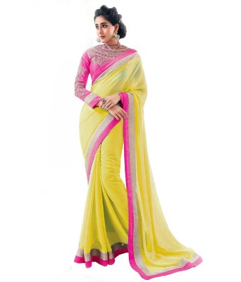Hari Krishna Enterprise Embroidered Fashion Georgette Saree(Yellow)  available at flipkart for Rs.649