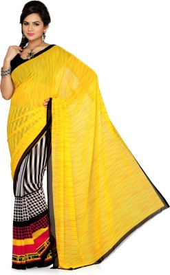 Ishin Printed Fashion Poly Georgette Saree Multicolor