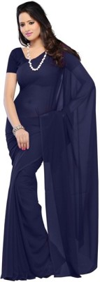 Anju Sarees Solid Fashion Chiffon Saree(Dark Blue)  available at flipkart for Rs.450