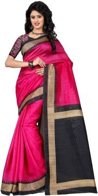 Trendz Style Printed, Striped Bhagalpuri Cotton Linen Blend Saree