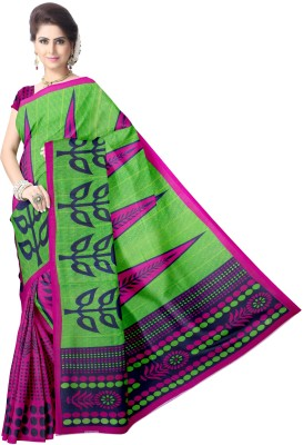 Avik Creations Printed Fashion Chiffon, Georgette Saree(Green, Pink)