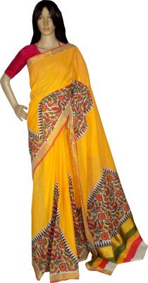 KheyaliBoutique Floral Print Balarampuram Handloom Cotton Saree(Yellow)