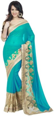 Om Designer Embroidered Bollywood Cotton Blend, Chiffon Saree(Light Blue) at flipkart