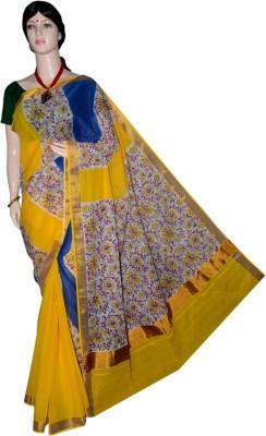 MAXX LIFESTYLE Printed, Embellished, Floral Print Fashion Handloom Cotton Saree(Yellow, Blue)