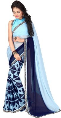 Oomph! Geometric Print, Printed, Solid Fashion Georgette Saree(Blue)