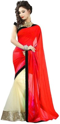 Bollywood Designer Solid Fashion Net Saree(Red)  available at flipkart for Rs.493
