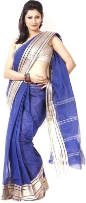 Purabi Woven Tant Handloom Cotton Saree(Blue)