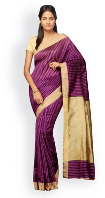 Pavechas Striped Banarasi Silk Cotton Blend Saree(Purple) at flipkart