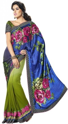 MAHOTSAV Self Design Fashion Satin, Georgette Saree(Blue, Green)