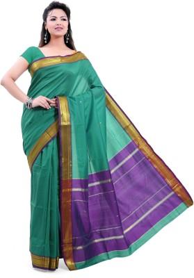 Ishin Solid, Striped Fashion Jacquard Saree(Green)