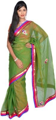 Jagadamba Solid Fashion Cotton Saree(Green)
