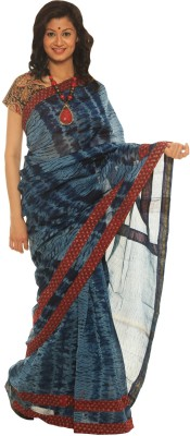 Indo Mood Printed Maheshwari Silk Saree(Blue, Red)