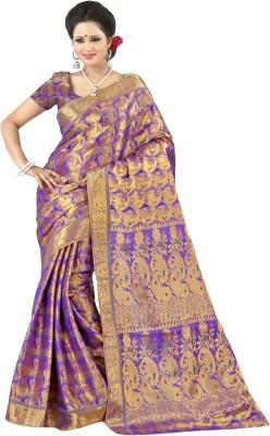 Mimosa Woven Kanjivaram Handloom Art Silk Saree(Purple)  available at flipkart for Rs.1499