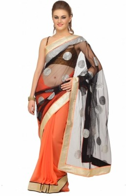 Lime Fashion Solid Fashion Net Saree(Orange, Black)  available at flipkart for Rs.1499