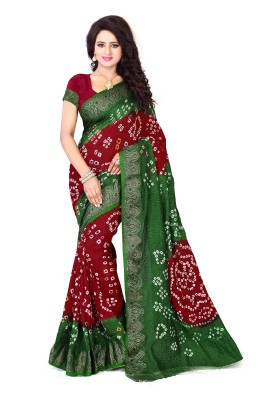 Viha Hand Painted Bandhani Poly Silk, Cotton Blend Saree(Multicolor)