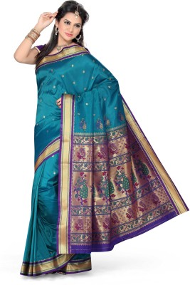 Ishin Printed Paithani Art Silk Saree(Blue)  available at flipkart for Rs.4950
