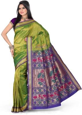 Ishin Printed Paithani Art Silk Saree(Green)  available at flipkart for Rs.4950