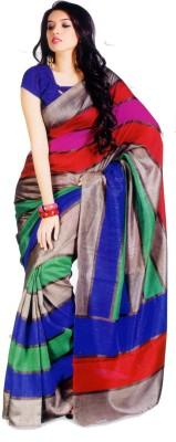 Sunaina Striped Bhagalpuri Cotton Blend, Poly Silk Saree Multicolor Sunaina Women's Sarees