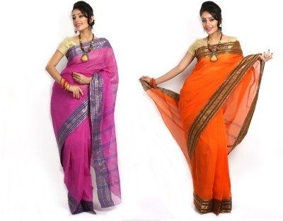 Purabi Woven Tant Handloom Cotton Saree(Pack of 2, Pink, Orange)