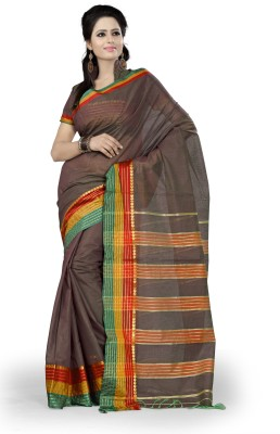 Ishin Solid, Striped Fashion Cotton Saree(Grey)