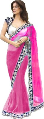 Bollywood Designer Embroidered Fashion Net Saree(Pink)  available at flipkart for Rs.779